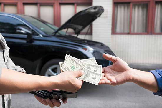 giving cash for a car